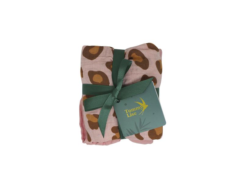 Tommy Lise Bavlněná mušelínová plena Coral Leopard Set 70x70 cm, 2ks