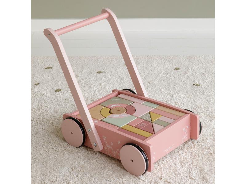 Little Dutch Vozíček s kostkami pink