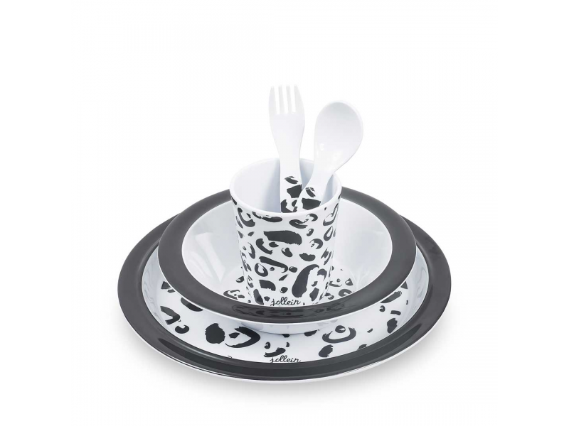 Jollein Jídelní BAMBUSOVÝ set WILD ANIMALS, Leopard Black White
