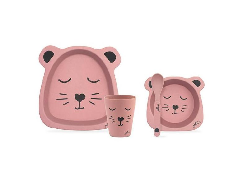 Jollein Bambusový jídelní set Animal club pink
