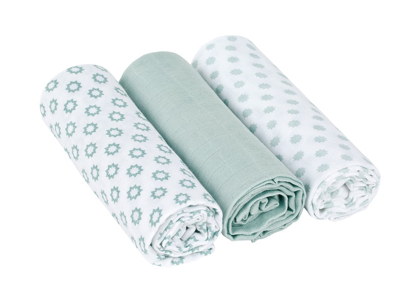 Swaddle blanket 85x85 Little Chums Star light mint 1