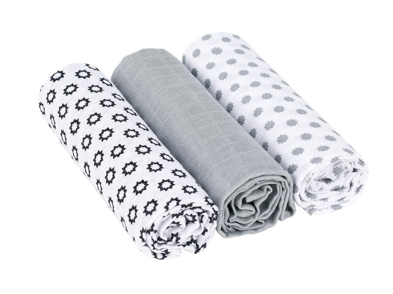 Swaddle blanket 85x85 Little Chums Stars white 1