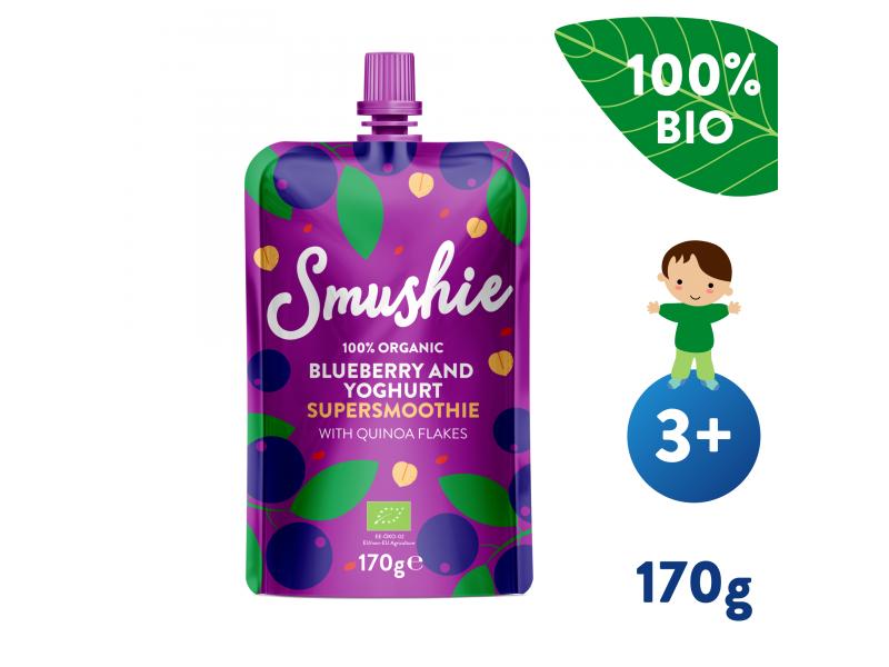 Smushie BIO Ovocné smoothie  s borůvkami, jogurtem a quinoou (170 g) 1