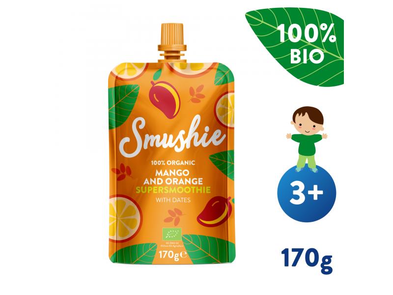 Smushie BIO Ovocné smoothie s mangem, pomerančem a datlemi (170 g) 1