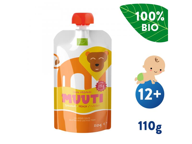 Muuti BIO Banán, broskev a mango s rýžovým proteinem (110 g) 12+ měsíců 1