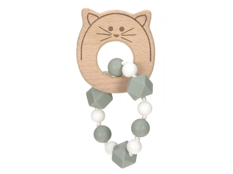 Lässig 4babies Kousátko Bracelet Wood/Silicone Little Chums cat