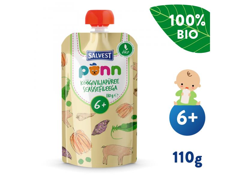 Ponn BIO Vepřová panenka se zeleninovým pyré (110 g) 6+ měsíců 1