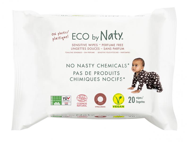 Naty Vlhčené ubrousky Naty Nature Babycare bez vůně - pro citlivou pokožku (20 ks)