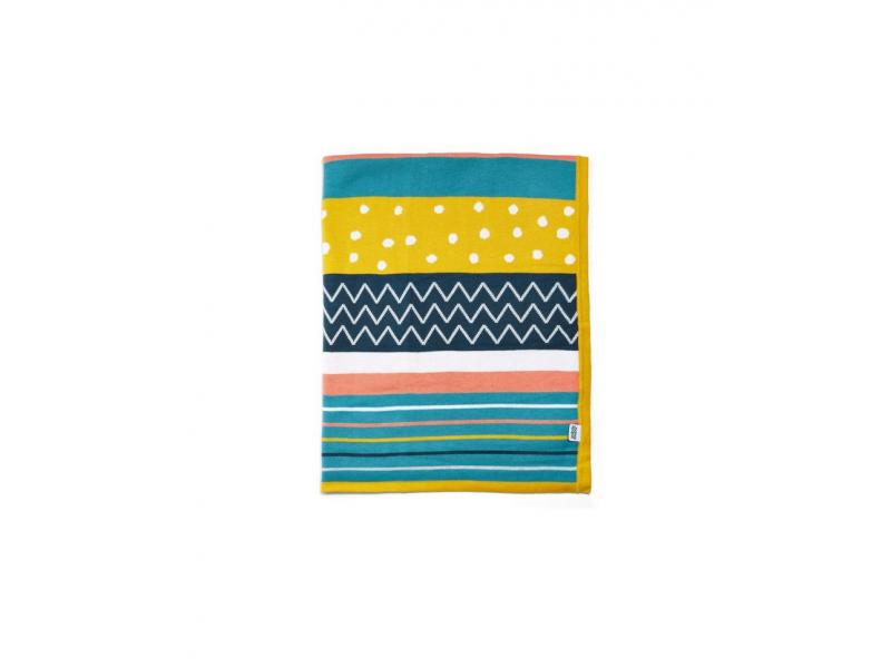 Pletená deka různobarevné pruhy 1