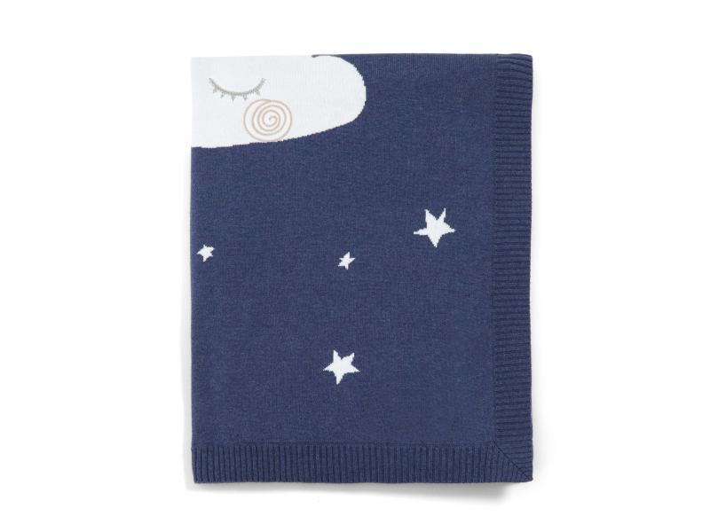 Pletená deka noční obloha modrá 1
