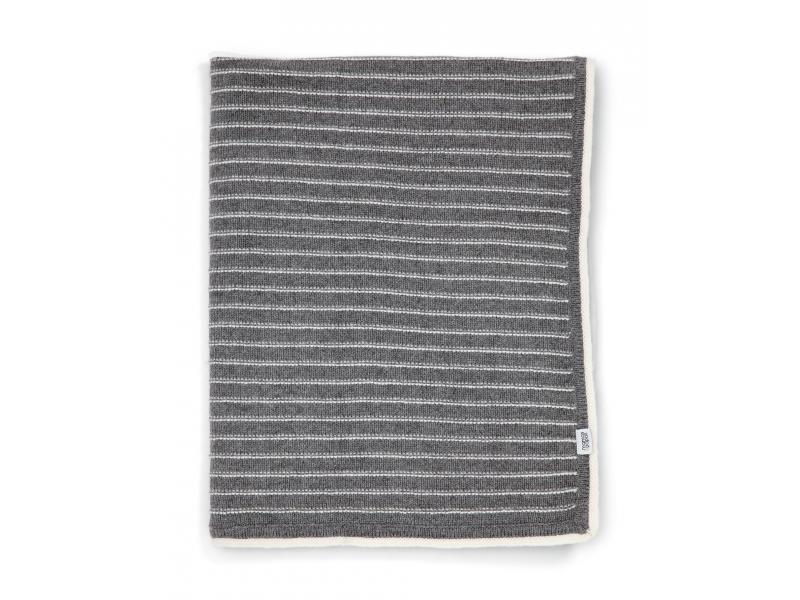 Pletená deka šedé proužky 1
