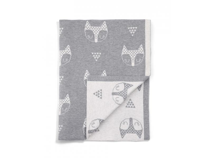Pletená deka Lišky šedá 1