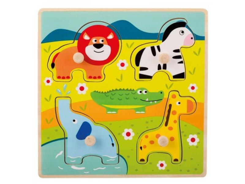 Dřevěné puzzle s úchyty Zvířátka v ZOO 12m+ 1