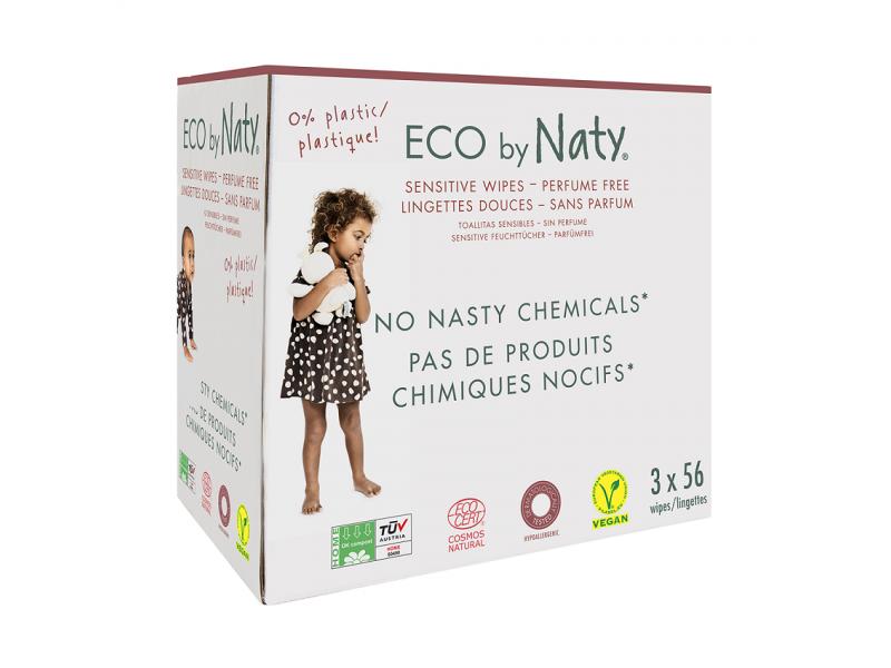ECO vlhčené ubrousky bez vůně - pro citlivou pokožku - výhodné balení (3 x 56 ks) 1