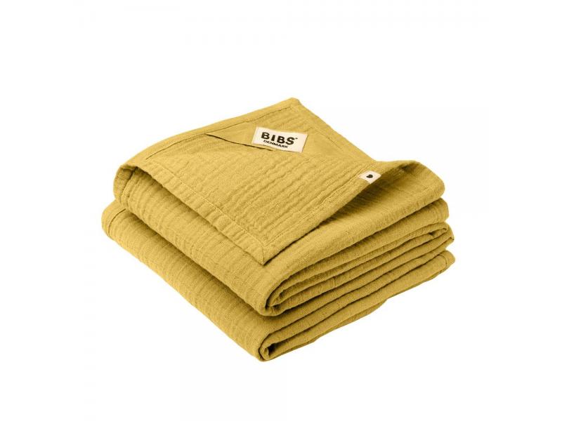 Mušelínové plenky z BIO bavlny 2ks, Mustard 1