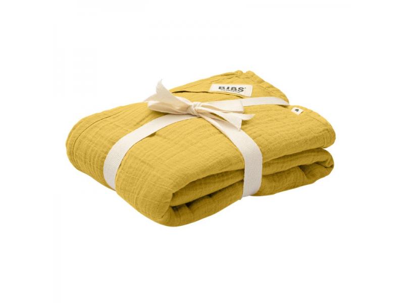 Mušelínová zavinovačka z BIO bavlny, Mustard 1