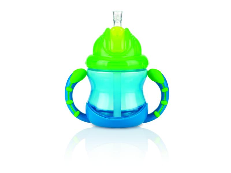 Nuby Netekoucí hrnek se zaklápavacím brčkem a držadly Flip-it™ 240ml modrý