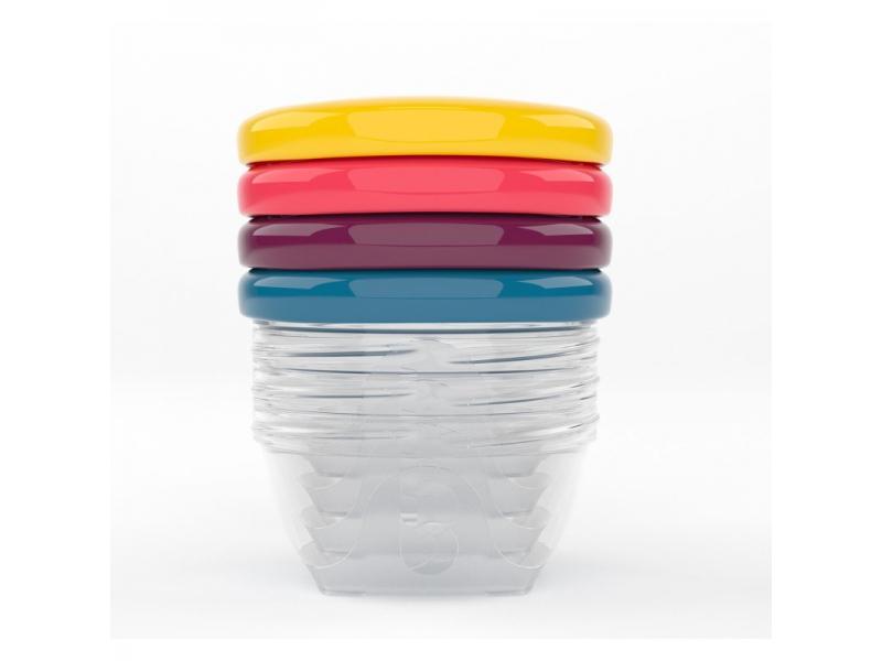 barevné misky s víčky 120ml - sada 4ks 1