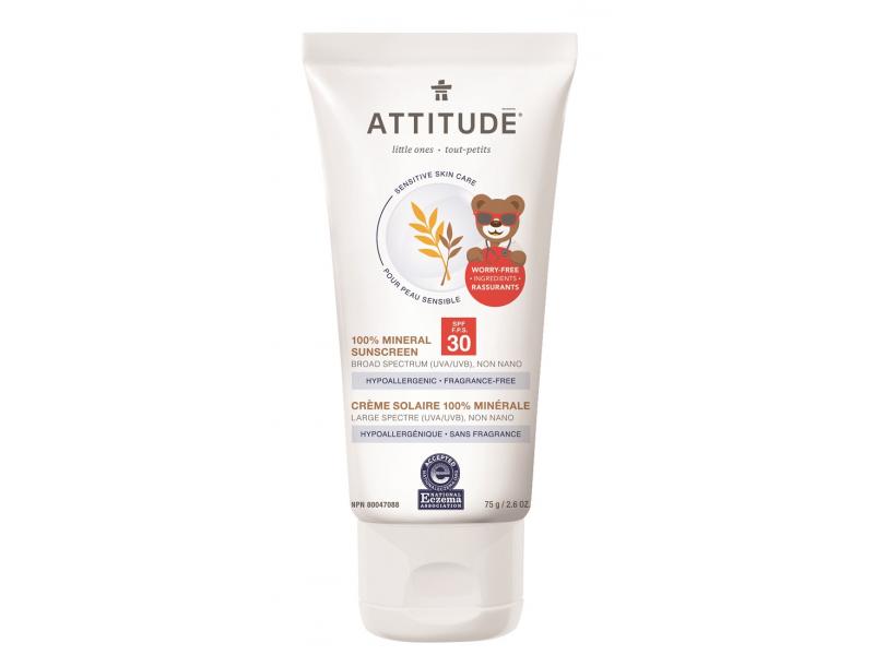 Attitude Dětský 100 % minerální opalovací krém (SPF 30) pro suchou a atopickou pokožku bez vůně 75 g