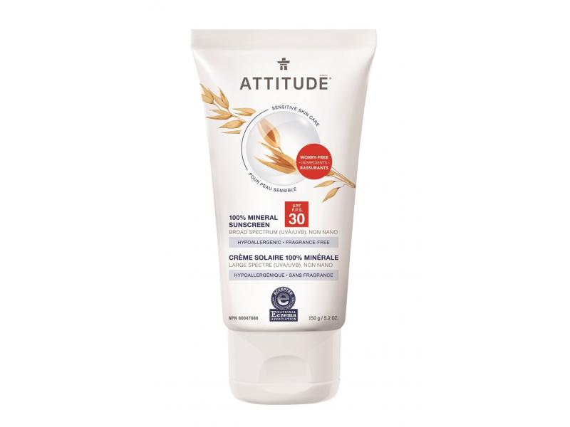 Attitude 100 % minerální opalovací krém (SPF 30) pro suchou a atopickou pokožku bez vůně 150 g