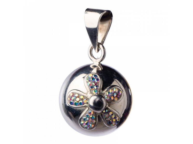 BOLA silver with glitter flower 1