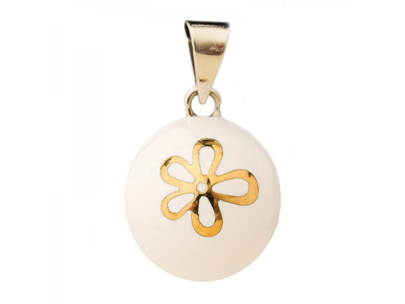 BOLA white with gold flower 1