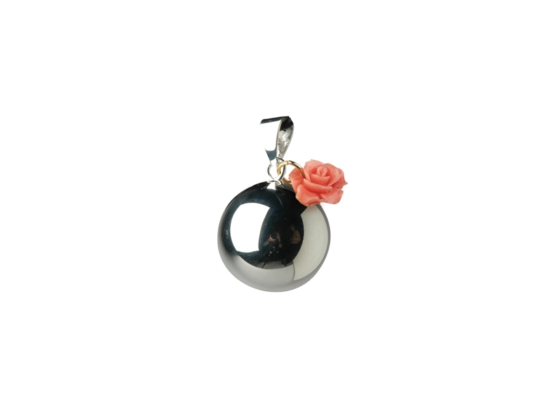 BOLA plain frosted with rose charm 1