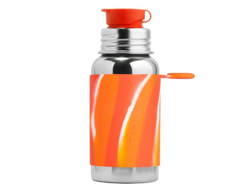 Pura Nerezová láhev se sportovním uzávěrem 550ml oranžovo-bílá