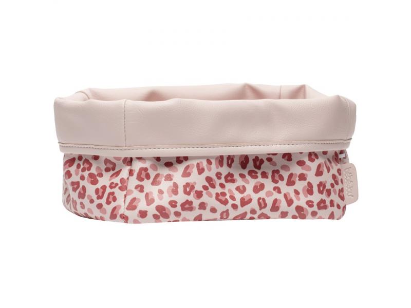 Textilní košík na kojenecké potřeby Leopard Pink 1