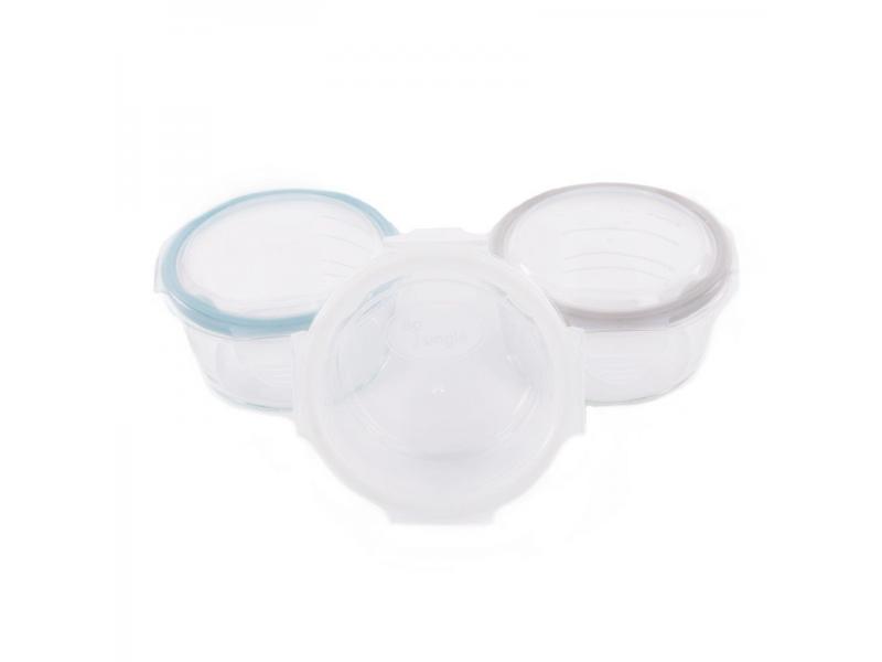 skleněné misky s víčky B-GLASS BOWLS 280ml White/Grey/Blue 1