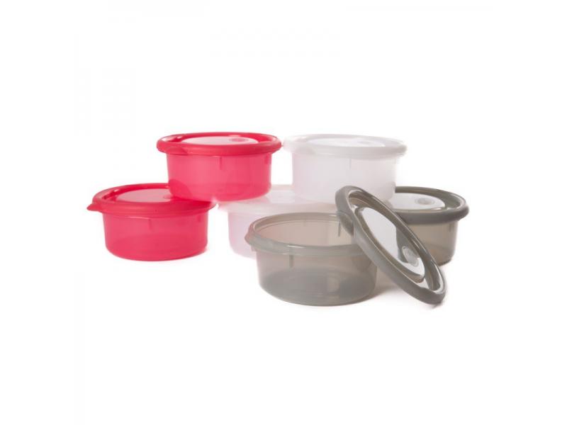 misky s víčky BOWLS Pink/White/Grey 300ml (6ks) 1