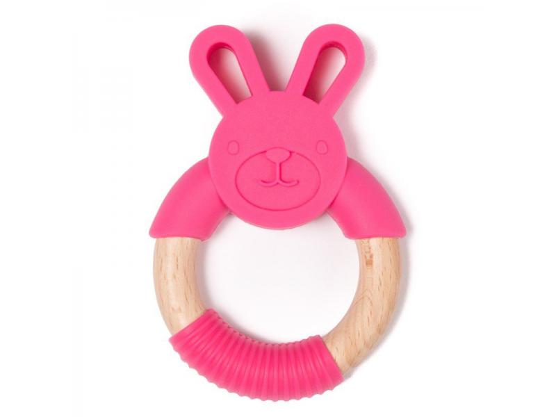 kousátko B-TEETHER ANIMAL WOOD Pink Rabbit 1