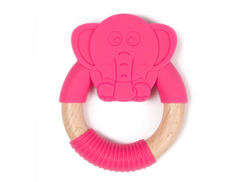 kousátko B-TEETHER ANIMAL WOOD Pink Elephant 1