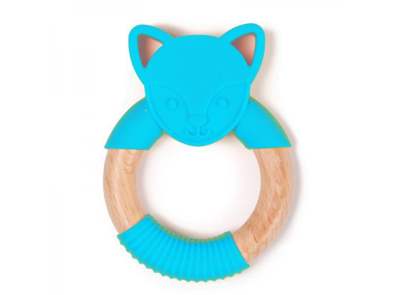 kousátko B-TEETHER ANIMAL WOOD Blue Fox 1