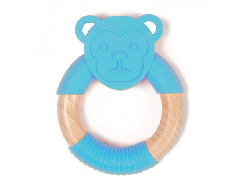 kousátko B-TEETHER ANIMAL WOOD Blue Monkey 1