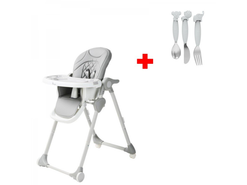Jídelní židlička B-DINNER CHAIR WHEELY Grey + DÁREK ZDARMA 1