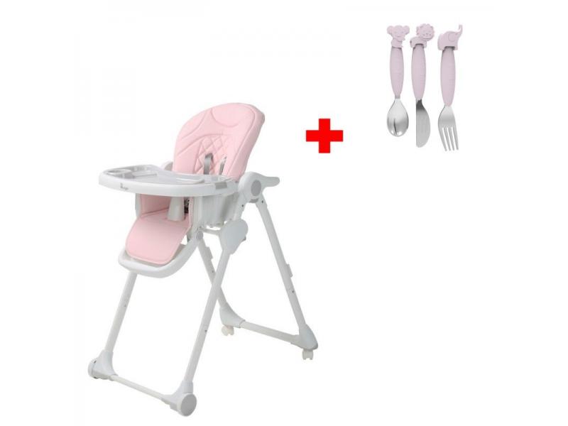 Jídelní židlička B-DINNER CHAIR WHEELY Pink + DÁREK ZDARMA 1