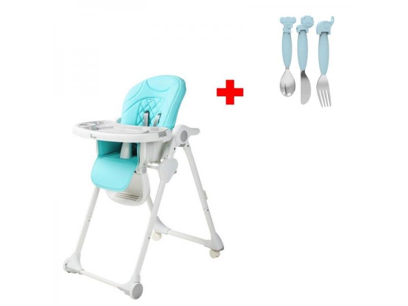 Jídelní židlička B-DINNER CHAIR WHEELY Blue + DÁREK ZDARMA 1