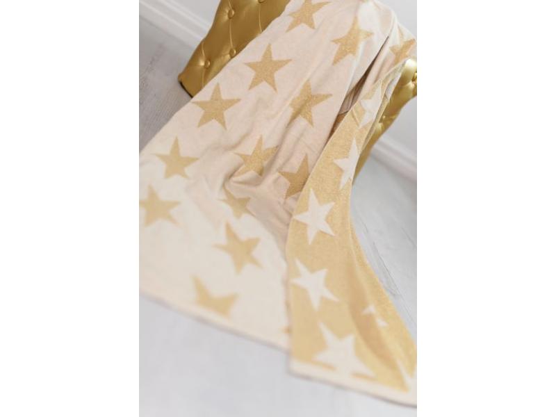 Pletená deka - zlaté hvězdy 1
