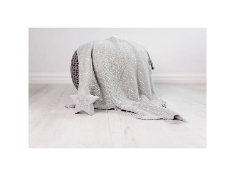 Pletená deka - stříbrná 1