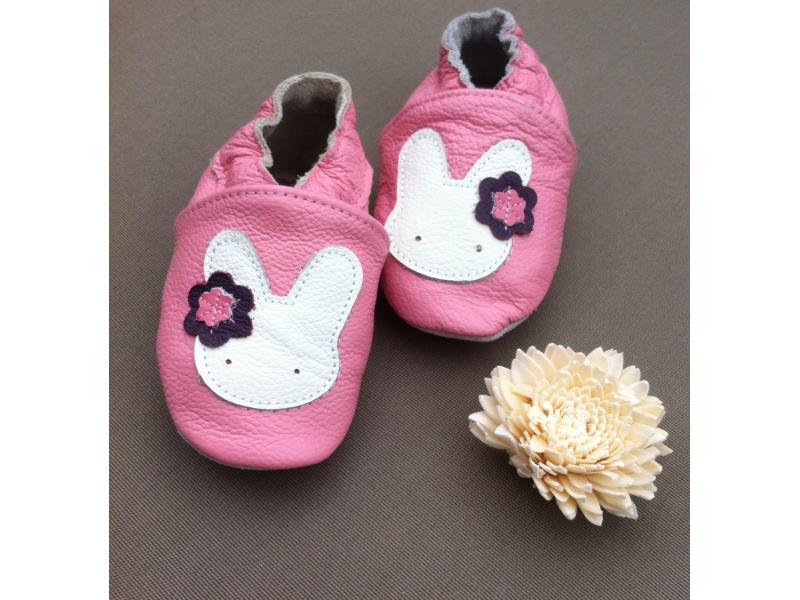 Mimibaby Kožené capáčky,fialové se zajíčkem 1/růžové 0-6 měsíců/11 cm