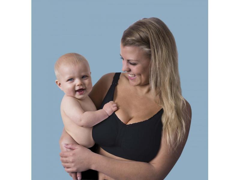 Podprsenka ke kojení push up s gelovou kosticí černá L 1
