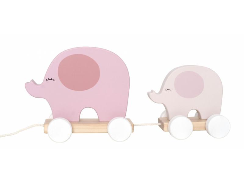 Hračka na tahání slon růžový 1