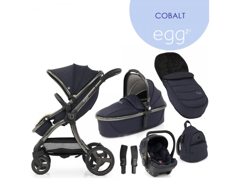 Egg 2 SET GOLD 6 v 1 COBALT / Gun metal, kočárek, korba, autosedaška, multiadaptér, batoh, fusak