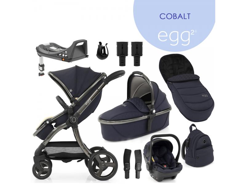 Egg 2 SET PLATINUM 9 v 1 COBALT / Gun metal, kočárek, korba, autosedačka, multiadaptér, batoh, fusak, držák nápojů, zvyš.adaptér, báze