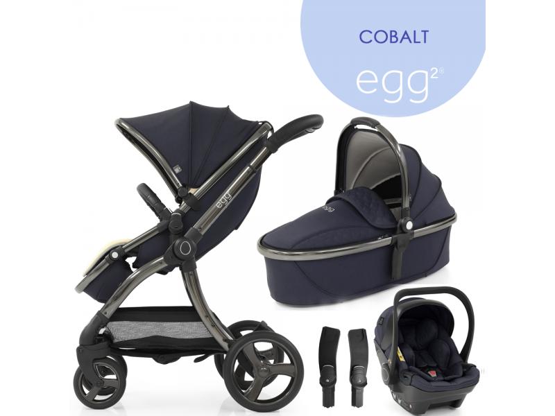 Egg 2 SET SILVER 4 v 1 COBALT / Gun metal - kočárek, korba, autosedačka, multiadaptér