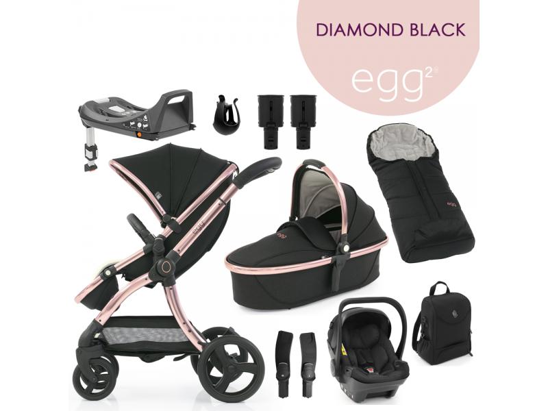 Egg 2 SET PLATINUM 9 v 1 DIAMOND BLACK / Rose gold - spec. edice, kočárek, korba, autosedačka, multiadaptér, batoh, fusak, držák nápojů, zvyš.adaptér, báze