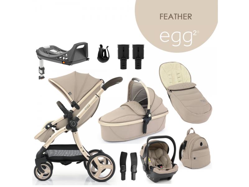 Egg 2 SET PLATINUM 9 v 1 FEATHER / Champagne, kočárek, korba, autosedačka, multiadaptér, batoh, fusak,držák nápojů, zvyš.adaptér, báze