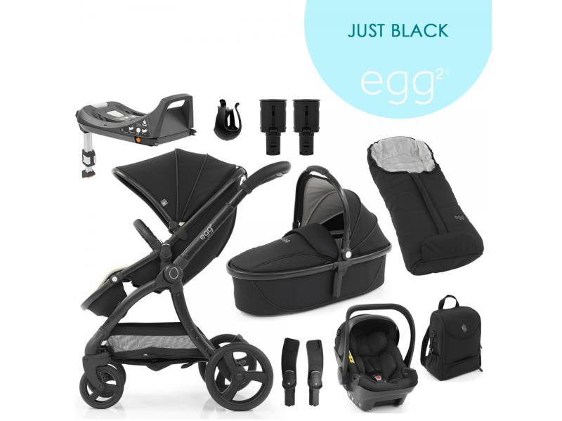 Egg 2 SET PLATINUM 9 v 1 JUST BLACK / Black mat - spec. edice, kočárek, korba, autosedačka, multiadaptér, batoh, fusak,držák nápojů, zvyš.adaptér, báze