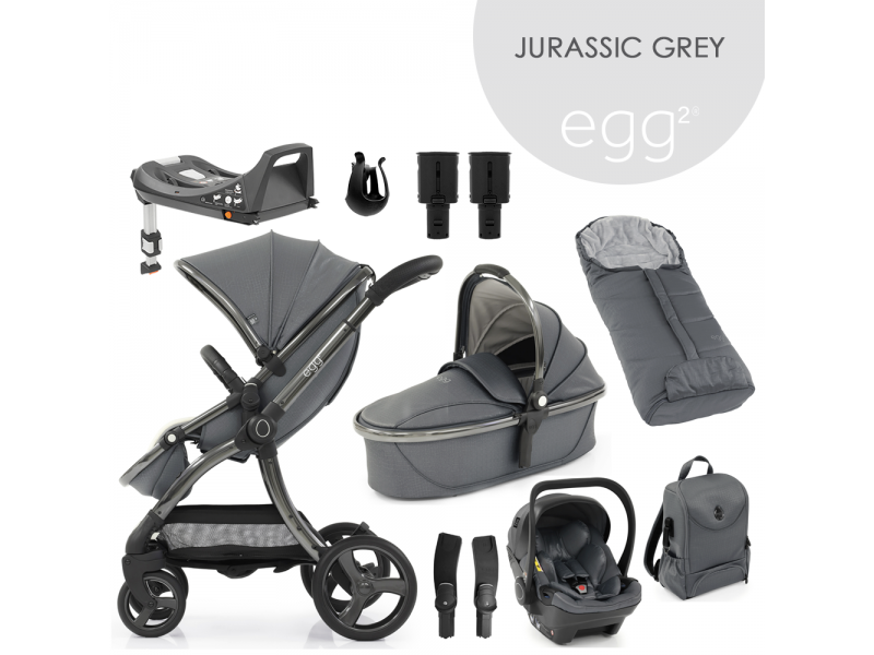 Egg 2 SET PLATINUM 9 v 1 JURASSIC GREY / Gun metal - spec. edice, kočárek, korba, autosedačka, multiadaptér, batoh, fusak, držák nápojů, zvyš.adaptér, báze